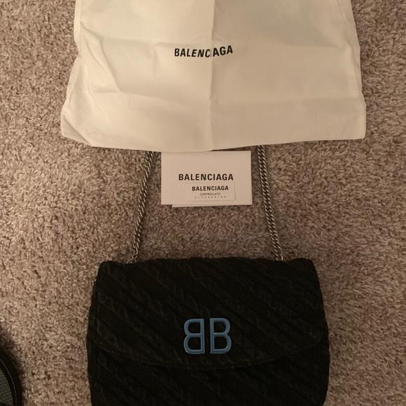 Balenciaga Handbags - Bb Chain Wallet Destroyed Blue Denim Cross Body
